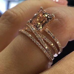 Jewelry - Rose Gold Natural Morganite Diamond